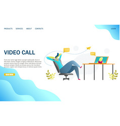 Video call website landing page design vector