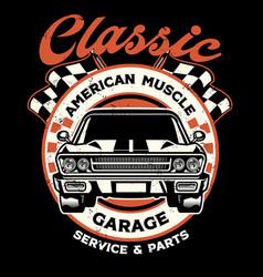 Vintage shirt design american muscle garage vector
