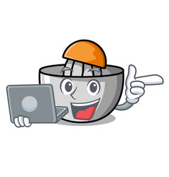With laptop juicer character cartoon style vector