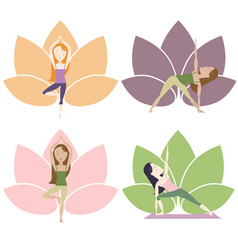 yoga poses with lotus vector image