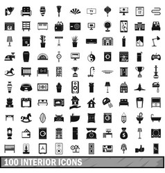 100 interior icons set simple style vector image vector image