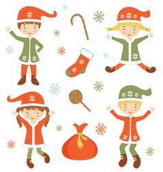 Cute Santa helpers vector image