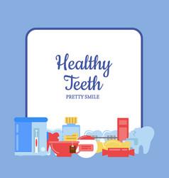 flat style teeth hygiene icons vector image