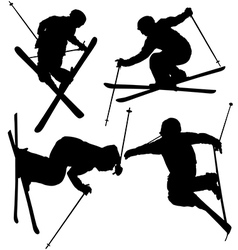 Freestyle Skier Silhouette vector image