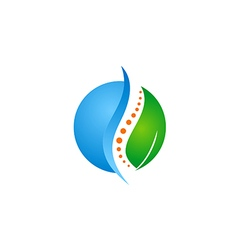 green leaf medic health bone logo vector image vector image