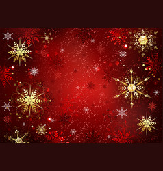 Red background with gold snowflakes vector