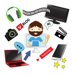 video-blogger and set of realistic electronic vector image vector image
