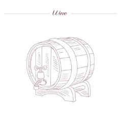 Wine Tun Hand Drawn Realistic Sketch vector image vector image
