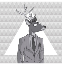 Deer animal hipster style triangule background vector