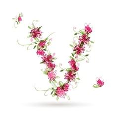 Floral letter V for your design vector image