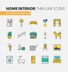 house interior linear thin line icons set vector image
