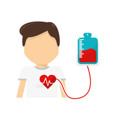 Man donating blood to transfusion icon vector