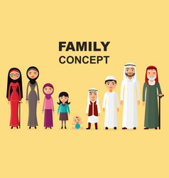 saudi family muslim arabic family isolated vector image vector image