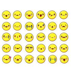 big emotional face icons set kawaiiflat design vector image
