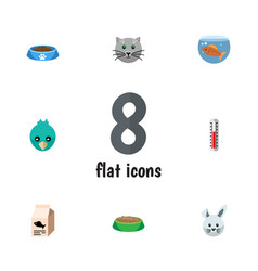flat icon animal set of fishbowl temperature vector image vector image