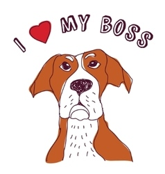 Pet dog love boss isolate on white vector image vector image