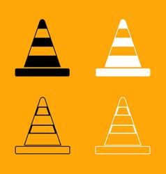 road cone black and white set icon vector image