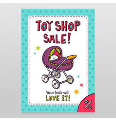 Toy shop sale flyer design with baby stroller vector image