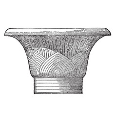 a capital from karnak roofs vintage engraving vector image