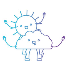 cloud with lightnings and sun kawaii caricature in vector image