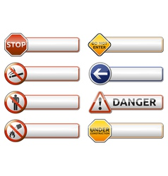 Danger prohibition sign banner collection vector image