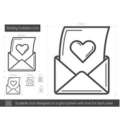 open love letter line icon vector image vector image