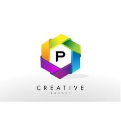 p letter logo corporate hexagon design vector image