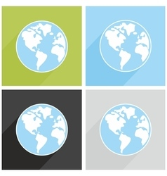 Planet Earth sign with long shadow vector image