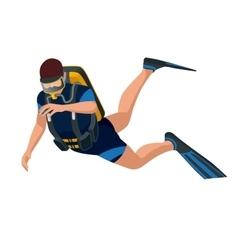 Scuba diver diving man front view Scuba diving vector image