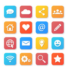 set of social networking icons flat design style vector image vector image