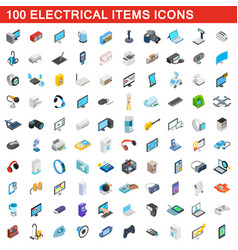 100 electrical items icons set isometric 3d style vector