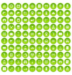 100 keys icons set green circle vector