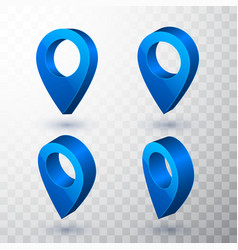 3d map pointer blue navigator symbol isolated on vector image