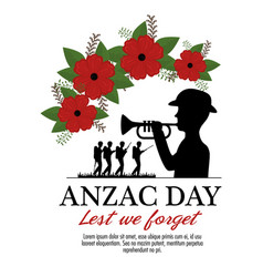 Anzac day background with soldiers blowing trumpet vector