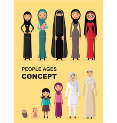 Arab woman aging baby child teenager vector