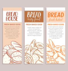 Banners with bread product vector