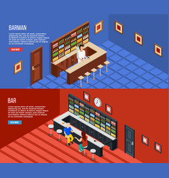 Bar people isometric banner set vector
