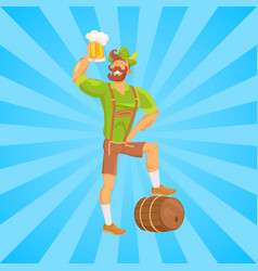 Bearded man drinking beer vector