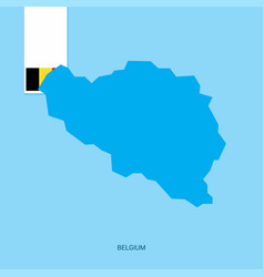 Belgium country map with flag over blue background vector