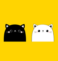 black and white cat head face line contour vector image