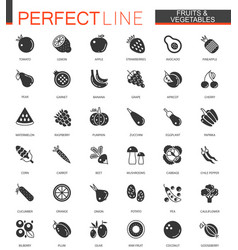 black classic fruits and vegetables web icons set vector image