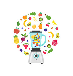 blender with smoothie fruit shake with a set of vector image