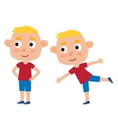 blonde boy in exercise pose vector image