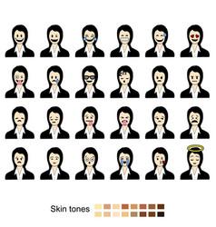 businesswoman faces set vector image