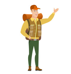 caucasian traveler showing a direction vector image