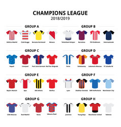 Champions league football jerseys kit 2018 - 2019 vector