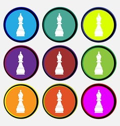 Chess bishop icon sign Nine multi colored round vector