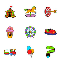 children park icons set cartoon style vector image