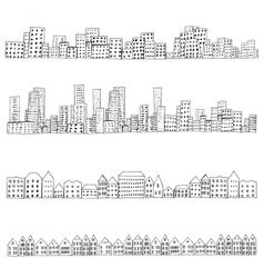 City doodle line vector