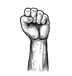 clenched fist raised up strong strength sketch vector image